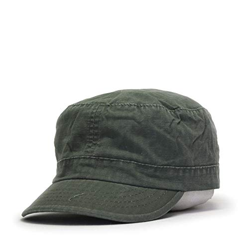 Washed Cadet Cotton Twill Adjustable Military Radar Caps (Vintage Fatigue Olive - Olive Vintage Ripstop Fatigue Drab