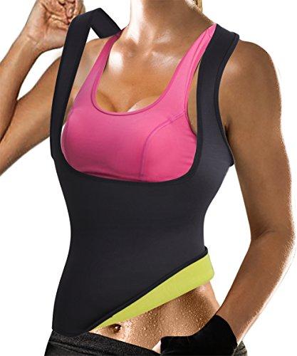 Rolewpy Women Sweat Neoprene Waist Trainer Hot Slimming Sauna Vest Tummy Control Body Shaper For Weight Loss (Black Gym Tops, L(US 12-14))