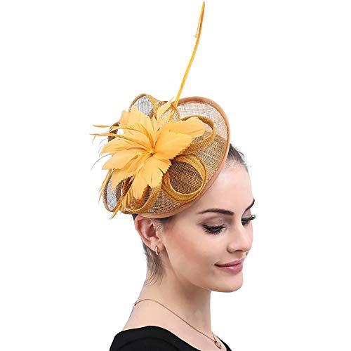 NQN Fascinator Hat for Women Lady Feather Headdress,Tea