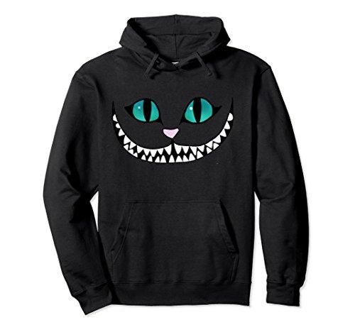 Unisex Halloween Outfit - Scary Cheshire Cat Hooded Sweatshirt Medium Black ()