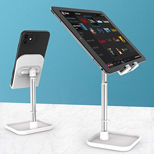 Cell Phone Stand, Height Angle Adjustable Desktop Phone Holder Compatible with Samsung Galaxy ipad Mini iPhone X Xr Xs Max All Smartphones White