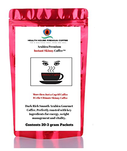 Skinny Coffee Blended Premium Instant Coffee from Health House Brands. Special herbal blend for weight loss and fat burning.