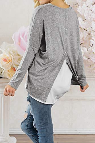 Sweat Femmes Faux Shirts Casual Longues Pulls Fashion T et Manches Blouse Rond Pullover Gris Shirts Printemps Morceaux Tee Automne Irregulier Jumper New Hauts Deux Col Tops SqFqgTt