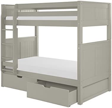Camaflexi Bunk Bed with Drawers - Panel Headboard, Twin, Grey Finish