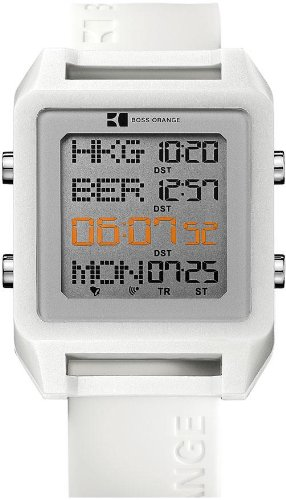 Hugo Boss Square Digital World Timer White Silicone Mens Watch 1512819
