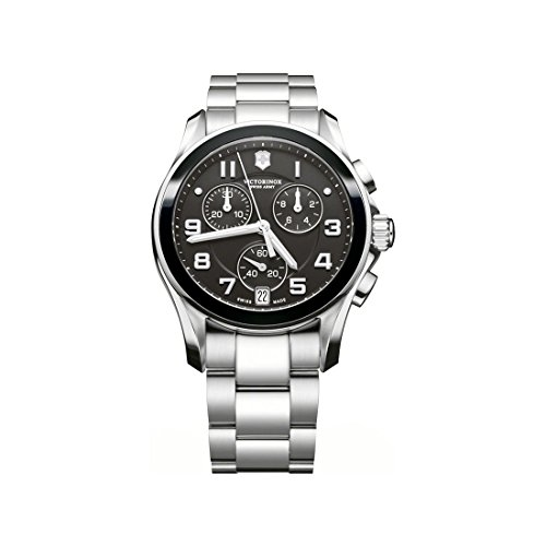 (Victorinox Swiss Army Black Dial SS Chronograph Quartz Male Watch 241544)