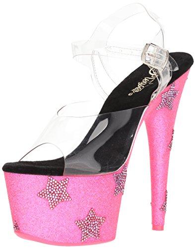 Pleaser Glitter Neon Women's 708star Abrs Pink Glitter Clr Clr Adore Sandal Blk H rggfW7n