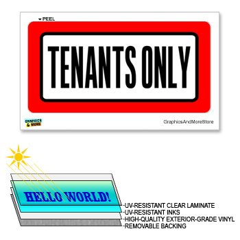 12 Tenant Doors (Tenants Only - 12 in x 6 in - Laminated Sign Business Sticker)