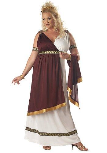 California Costumes Women's Roman Empress Costume, White/Burgundy, 2XL