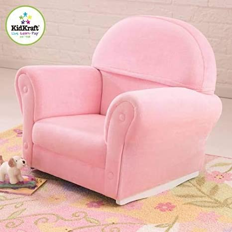 half off ab8c4 4eac4 KidKraft Upholstered Rocker with Slip Cover, Pink