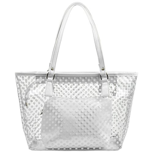 Micom Cute Neno Candy Color Polka Dot Clear Beach Tote Shoulder Handbag (White) (Tote Beach Handbag)