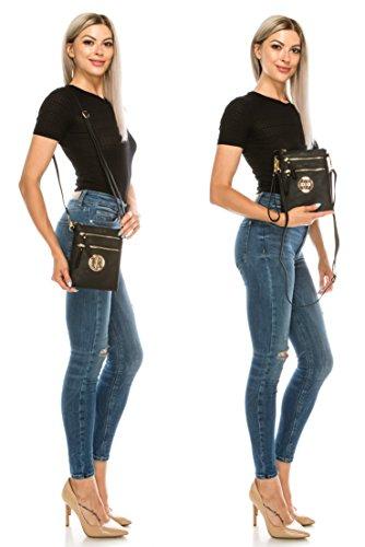 Handbag Bag Women's Wristlet Crossbody Solene Zipper Topaz Faux Detachable Leather Rich Pockets With Organizer Multi PTqpOq8xdw
