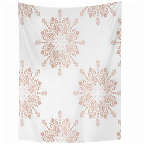 YeaSHARK Wall Hanging Tapestries 60 x 80 Inches Pink Blush Rose Large Floral Lace Toile Announcement Baby Tapestry for Home Bedroom Living Room Dorm