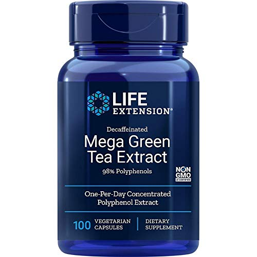 Life Extension, Mega Green Tea Extract (extracto de te verde, descafeinado) , 725 mg, 100 Capsulas veganas, sin soja, sin gluten