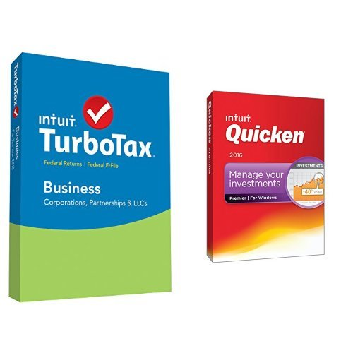 TurboTax Business 2015 Federal + Fed Efile Tax Preparation Software PC Disc with Quicken Premier 2016 PC Disc