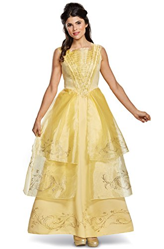 Disney Women's Belle Ball Gown Deluxe Adult Costume, Yellow, Small