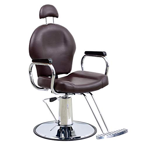 BarberPub Reclining Hydraulic Barber Chair Salon Styling Beauty Spa Shampoo 9838 (Brown)