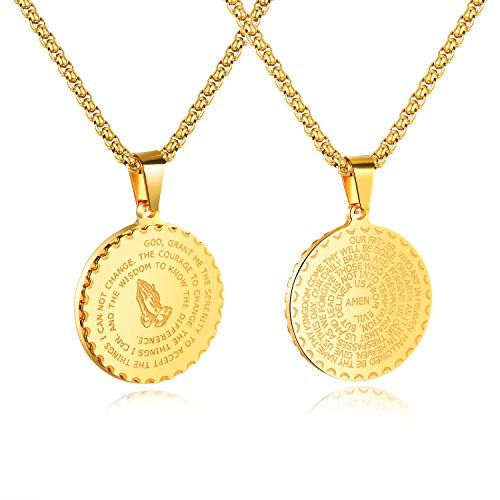 TENGYI 18K Gold Plated Stainless Steel St Saint Benedict Medal Pendant with 24 Inch Chain Necklace (D2:Praying Hands Gold)