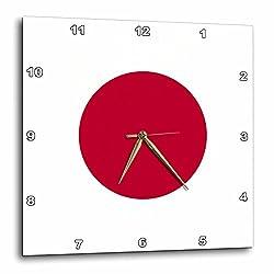 3dRose DPP_158343_3 Flag of Japan Square Japanese Red Sun Disc Dot Circle on White Nisshoki Hinomaru World Country Wall Clock, 15 by 15