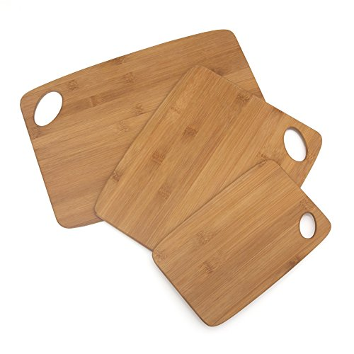 Lipper International 839 Bamboo Wood Thin Cutting Board with Oval Hole in Corner, Assorted Sizes, Set of 3