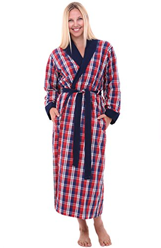 (Alexander Del Rossa Del Rossa Womens Turkish Terry Cloth Robe, Woven Shell Long Bathrobe, Blue and Red Plaid Small Medium (A0140W40MD))