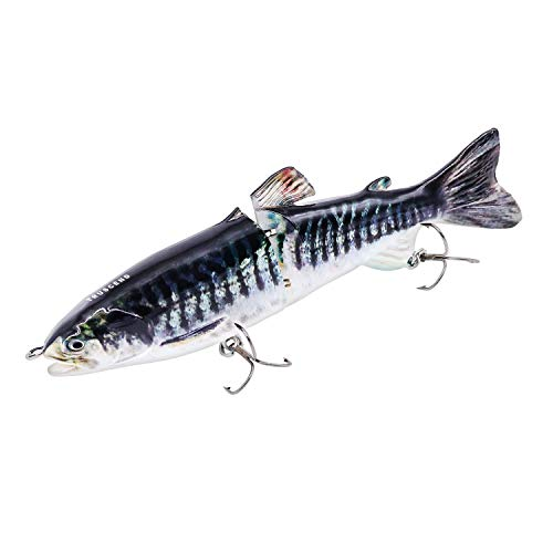 TRUSCEND Fishing Lures Glide Baits Swimbaits for Bass,18cm 7 Topwater Jointed Bass Lures Trout Swimbaits Crankbaits with Mustad Hooks (J2C08-D)