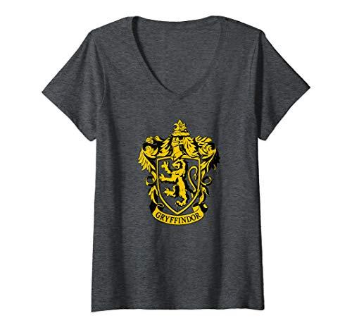 Womens Harry Potter Gryffindor Crest V-Neck T-Shirt]()