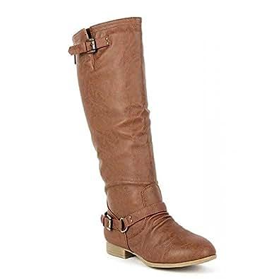 Top Moda Women's COCO 1 Knee High Riding Boot (5, Tan)