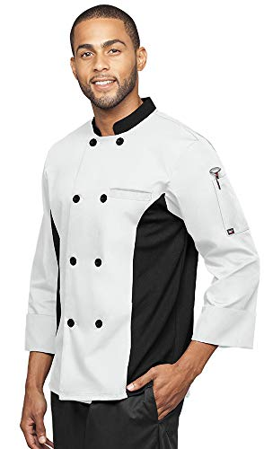 - Men's 3/4 Sleeve Chef Coat with Mesh Side Panels (S-3X, 4 Colors) (Small, White/Black)