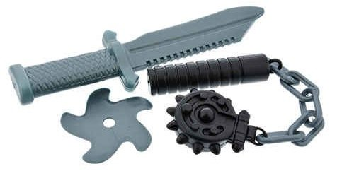 Toy Ninja Weapon Playset (large knife/throwing star/flail)