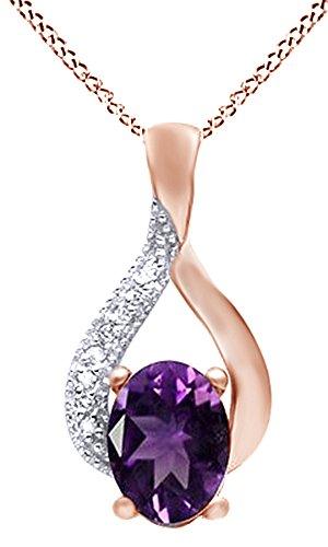 2.03 Ct Oval Diamond (10K Solid Rose Gold Diamond & Amethyst 2.03 Ct. Oval Cut Pendant)