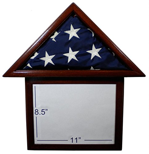 "Solid Mahogany Flag Display Case with attached 8.5 x 11"" Frame, American Made, for 3 x 5' Nylon Flag by USAFlagCases"