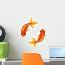 Two Goldfish Swimming Circles Wall Decal by Wallmonkeys Peel and Stick Graphic (18 in H x 18 in W) WM356580