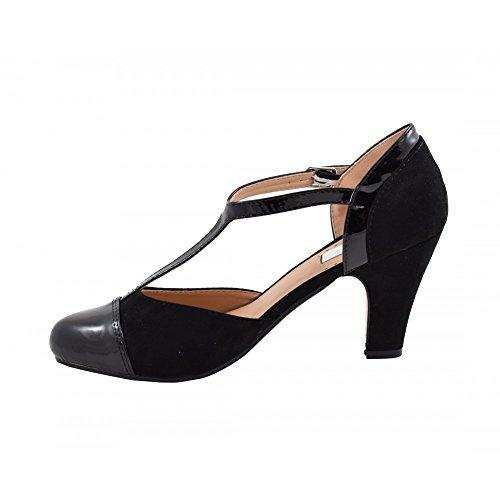 Benavente - Zapato de salón tacón medio hebilla negro - Benavente NEGRO