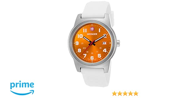Amazon.com: Wenger 01-0441-115 Mens Field Color White Silicone Orange Dial Stainless Steel Watch: Watches