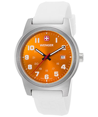 Wenger 01-0441-115 Men's Field Color White Silicone Orange Dial Stainless Steel Watch