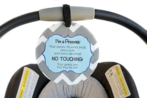 Boy Preemie Sign, Newborn, Baby car seat tag, Baby Shower Gift, Stroller tag, Baby Preemie no Touching car seat Sign -