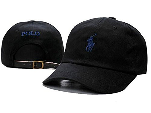 POLO Snapback Baseball Snapback Cap Hat Cotton Adjustable Black One Size (Polo Snapback Hats)