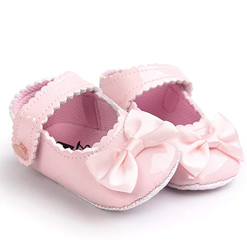 Danhjin Mary Jane Front Bow Buckle Ballerina Flat for Babies and Toddlers Pink ()