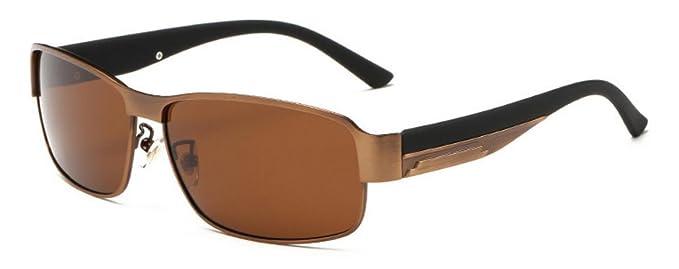 Gafas de sol polarizadas para hombre marco negro UV400 de deportivas gafas (marrón)
