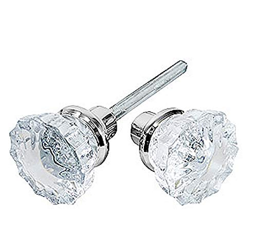 Rousso's Reproductions Depression Crystal Knobs with Set Screws and Standard or Custom Length Spindles-New Replacements for Antique Knobs Easily Installs on Any Door. (Polished Chrome) (One Pair)