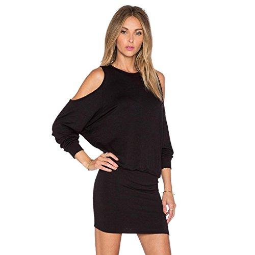 [GONKOMA Women Solid Color Long Sleeve Off Shoulder Dress Party Slim Mini Dress (S, Black)] (Blend Pencil Skirt)