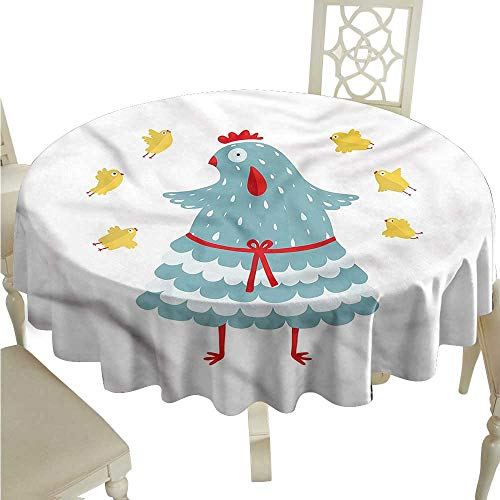 ScottDecor Jacquard Tablecloth Chicken,Mother Hen Bird with Babies Fabric Tablecloth Round Tablecloth D 36