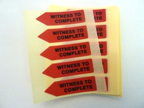 Minilabel 125 X Red Alert Arrow Labels , Witness To Complete , Removable Low Tack Stickers For Documents, Letters Or Contracts