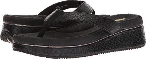 Volatile Women's Daniella Wedge Sandal, Black, 8 M (Snakeskin Thong Sandals)