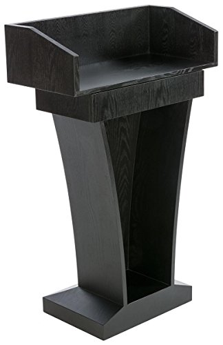 Displays2go Wood Speaking Lectern, Drawer & Storage Area, Black MDF Wood (LCTFSRSTSB) by Displays2go (Image #1)