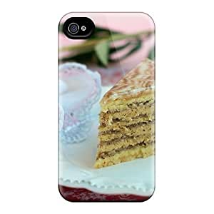 Flexible Tpu Back Case Cover For Iphone 4/4s - Delicious Cake And Pink Peony