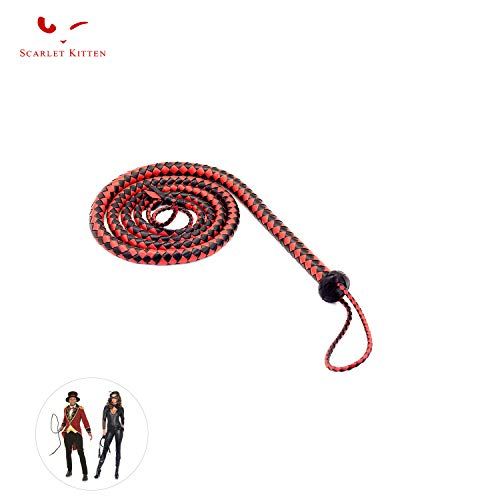 SCARLET KITTEN Cowboy Whip Cat Woman Long Whips Costumes Supplies for Halloween Costume Accessories 5.3ft/1.6m, Black & Red]()
