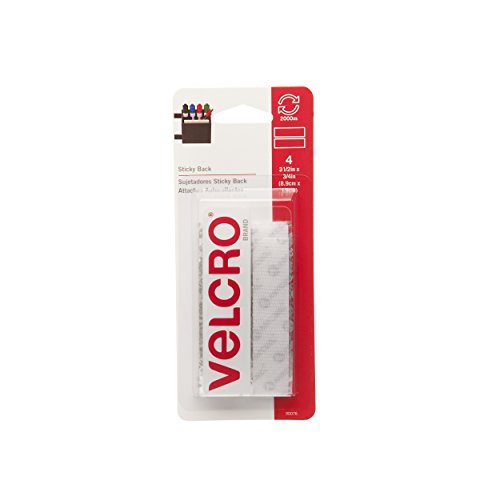 VELCRO Brand - Sticky Back - 3 1/2' x 3/4' Strips, 4 Sets - White