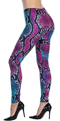 Ndoobiy Women's Printed Leggings Full-Length Regular Size Workout Legging Pants Soft Capri L1(Snake OS)
